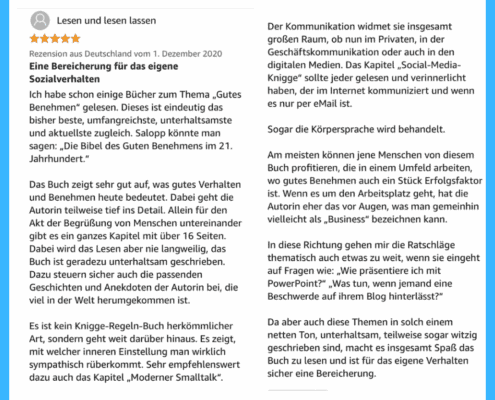 "Amazon-Rezension Sachbuch ""Modern Life Etikette"""